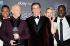 SANTA MONICA, CA - DECEMBER 11:  (L-R) Actor Cuba Gooding Jr., writer/producer Ryan Murphy, actors John Travolta, Sarah Paulson and Sterling K. Brown, winners of Best Movie/Miniseries for 'The People v. O. J. Simpson: American Crime Story', pose in the press room at the 22nd annual Critics' Choice Awards at Barker Hangar on December 11, 2016 in Santa Monica, California.  (Photo by Jason LaVeris/FilmMagic)