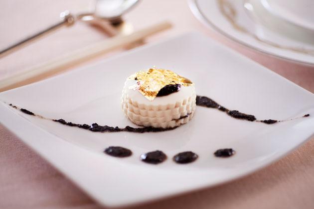 minglayered-silk-tofu-gold-leaf-chinese-olive-rich-sauce-chilled