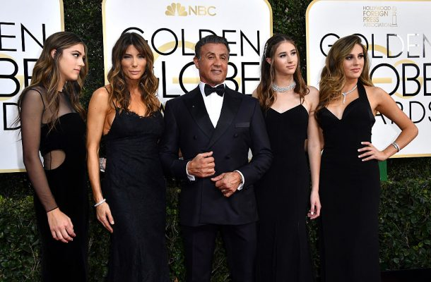 BEVERLY HILLS, CA - JANUARY 08:  (L-R) Miss Golden Globe 2017 Scarlet Stallone, actress Jennifer Flavin, actor Sylvester Stallone, Miss Golden Globe 2017 Scarlet Stallone and Miss Golden Globe 2017 Sophia Stallone attend the 74th Annual Golden Globe Awards at The Beverly Hilton Hotel on January 8, 2017 in Beverly Hills, California.  (Photo by Steve Granitz/WireImage)