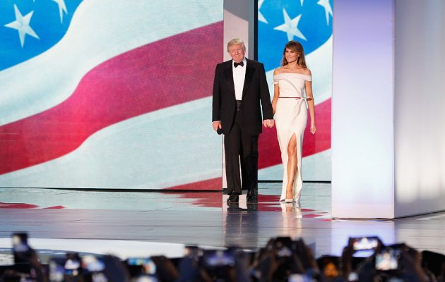 WASHINGTON, DC - JANUARY 20:  President Donald Trump and first lady Melania Trump arrive at the Freedom Inaugural Ball at the Washington Convention Center January 20, 2017 in Washington, D.C.  President Trump was sworn today as the 45th U.S. President.  (Photo by Aaron P. Bernstein/Getty Images)