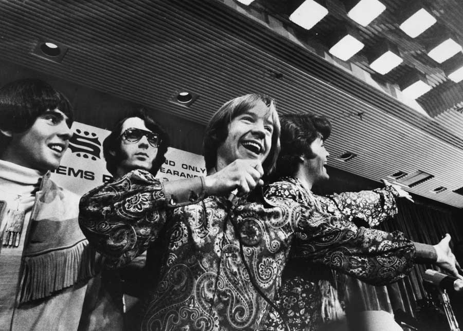 Black and white photo of pop band 'The Monkees'