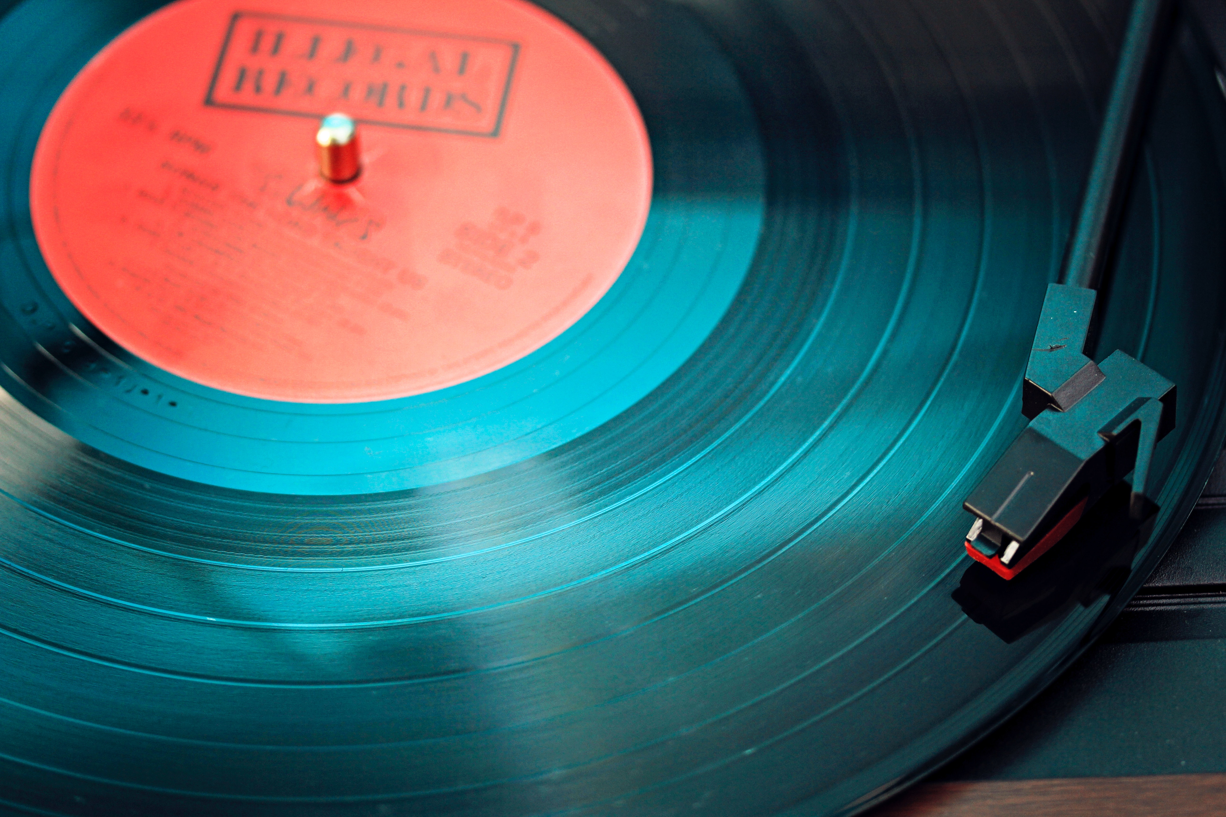 A closeup of record being played.
