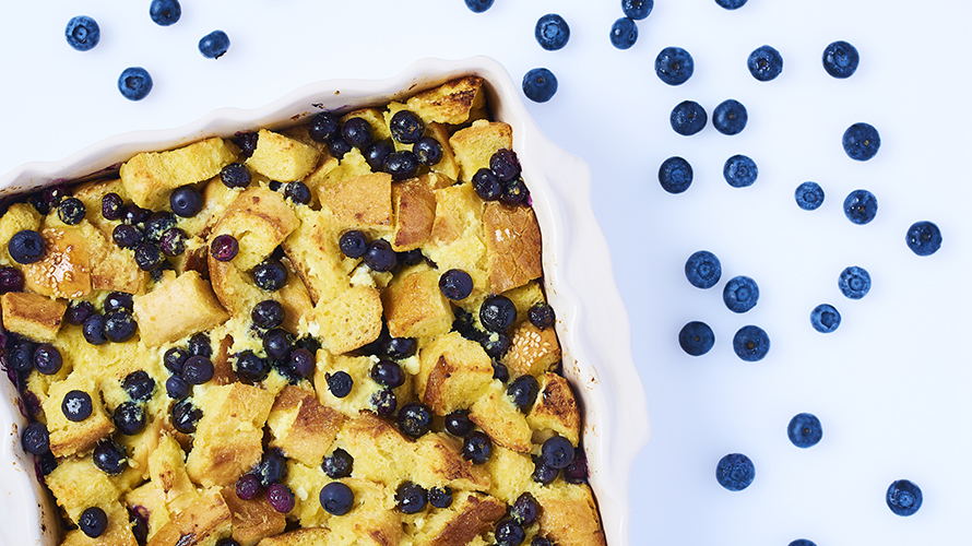 A blueberry lemon ricota featuring a combination of french bread, a light egg mixture and sweet blueberries.