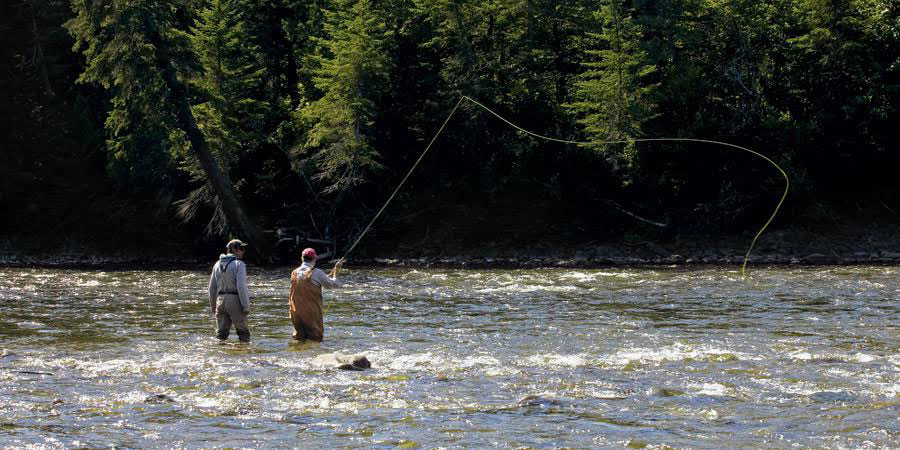 Haogy Carmichael Jr. casts a fly in Quebec's Grand Cascapedia River in the summer of 2008.