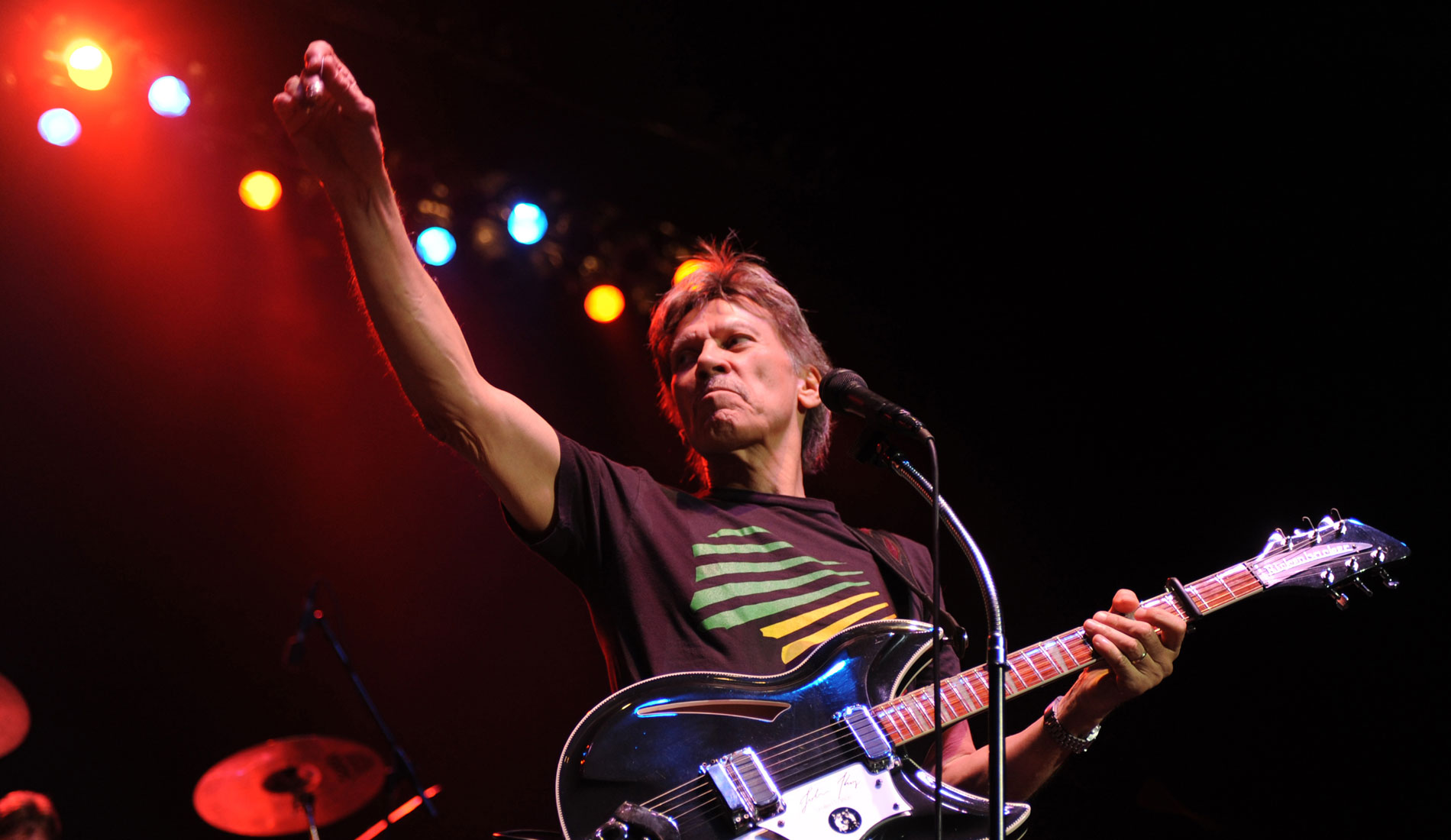John Kay of Steppenwolf raises his hands to the fans as he performs at Hard Rock Live in the Seminole Hard Rock Hotel and Casino.