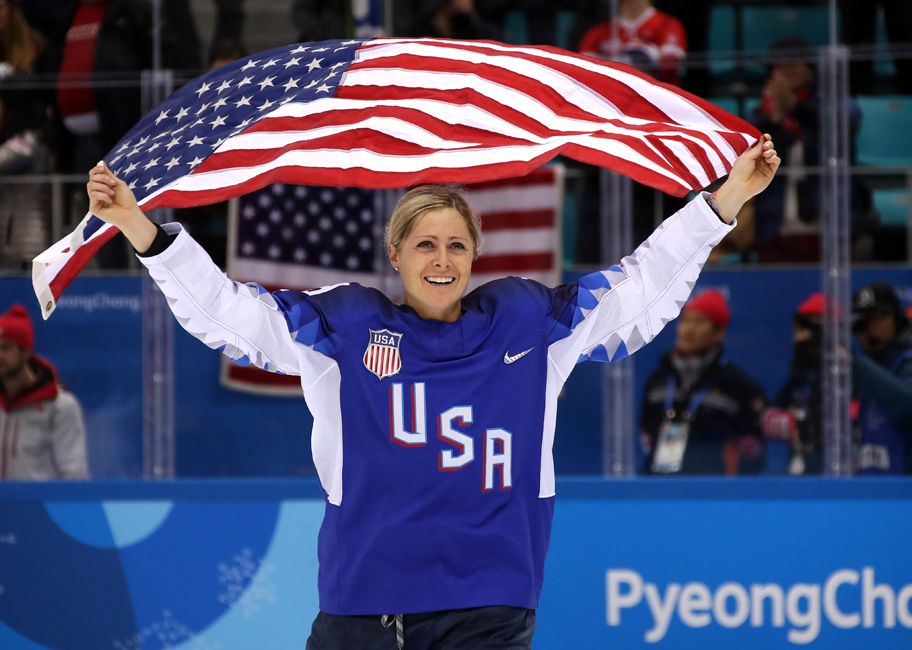 U.S. Women Wave Flag Celebrate Victory