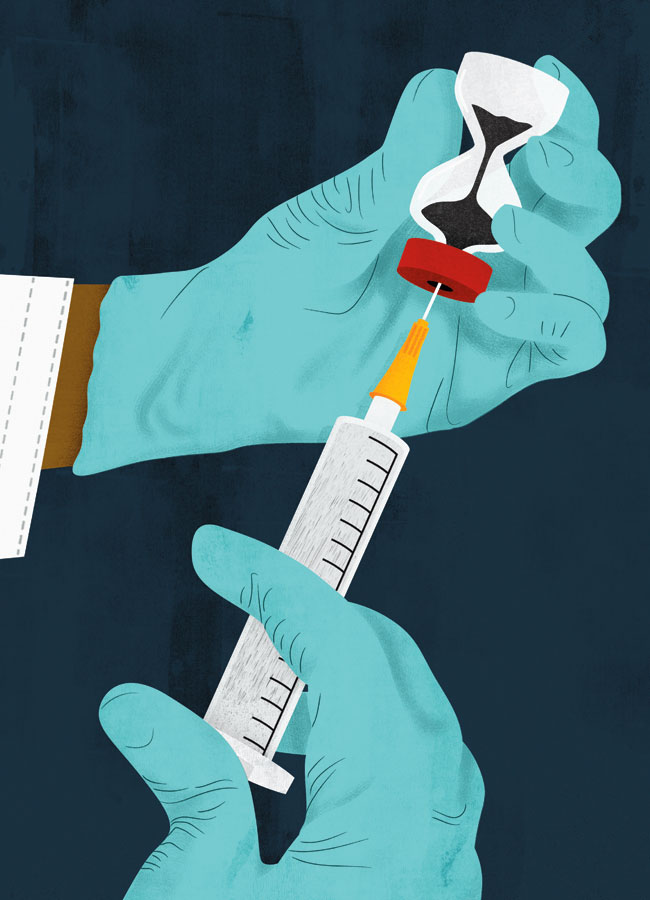 An illustration of someone withdrawing a vaccine from a container with a syringe.