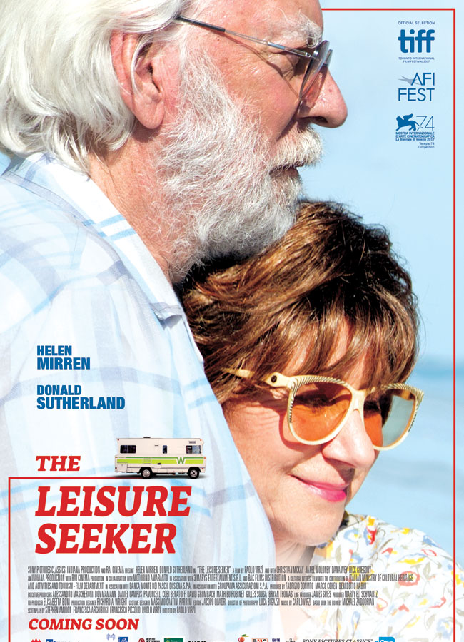 The movie poster for The Leisure Seeker. A side profile of Donald Sutherland with Helen Mirren pressing her face against his chest and smiling.