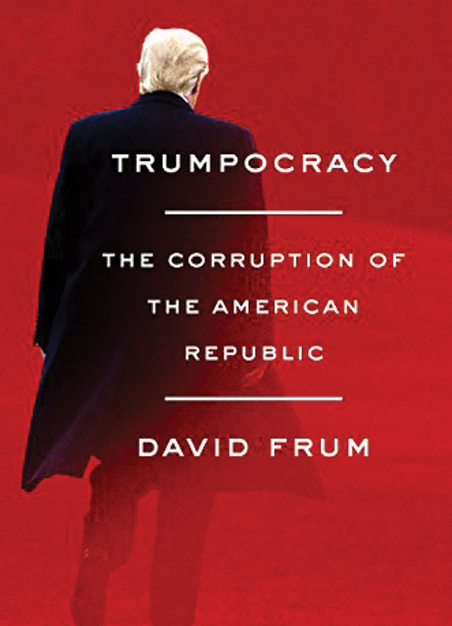 Trumpocracy book cover featuring a photo of President Trump with his back turned.