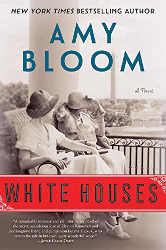 The book cover for White Houses, which features a photo of two woman wearing bonnets sitting on a porch.