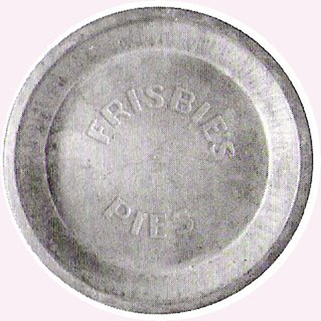 The above view of a Frisbie pie tin.