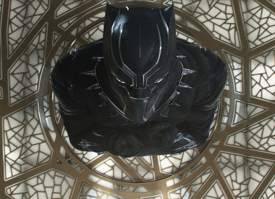 An above view of Marvel's Black panther in his black suit.
