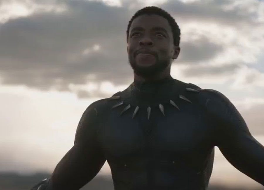Marvel's The Black Panther standing arms outstretched staring off-camera.