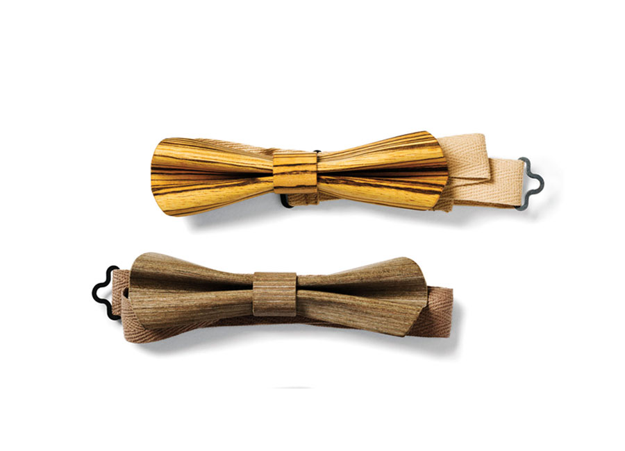 Slim, cloth bowties in dark taupe and natural