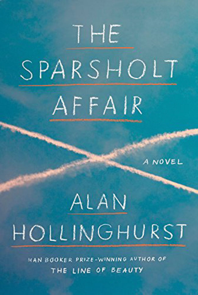 The Sparsholt Affair book cover. In the background of the title is a blue sky with two jet streams crossing one another.