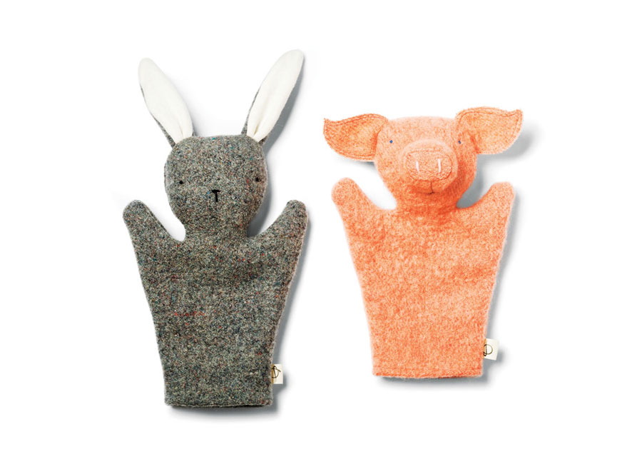 A brown rabbit and pink pig Kids hand puppets