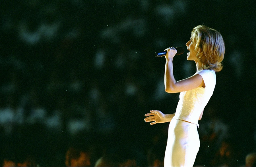 Celine Dion performs at the Summer Olympic Games in Atlanta