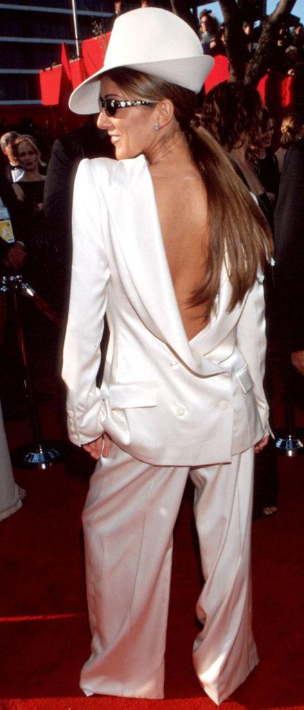 Celine Dion in John Galliano's backward tuxedo