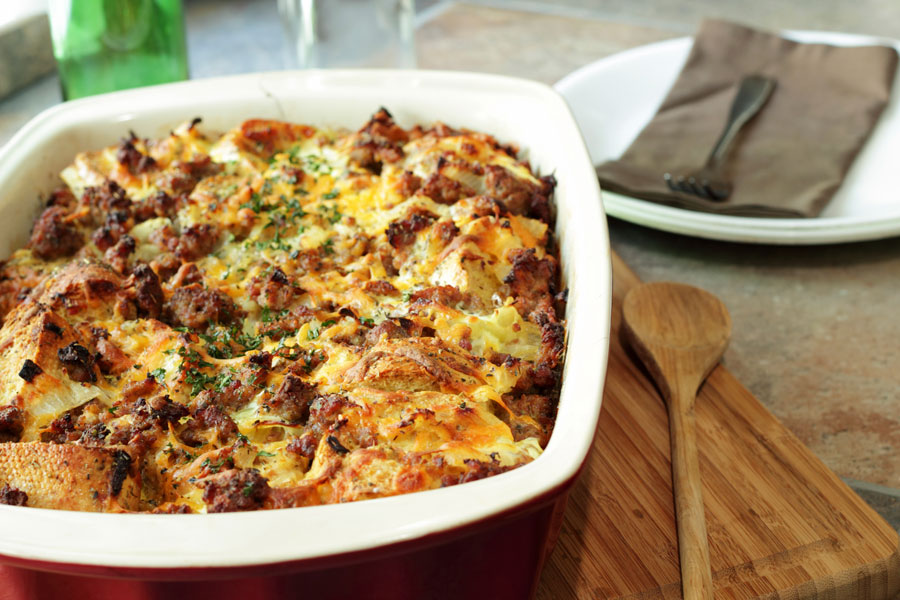 Cynthia Beretta's Maple Sausage Savoury Bread Pudding with Maple Brown Butter Sauce. Photo: Courtesy of Beretta Farms