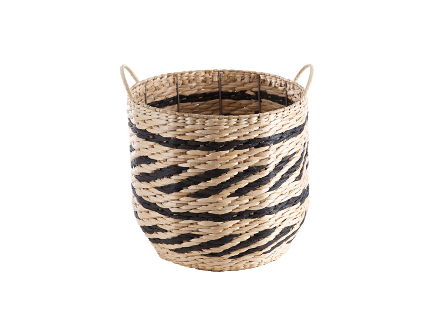 Black and natural round woven basket with handles