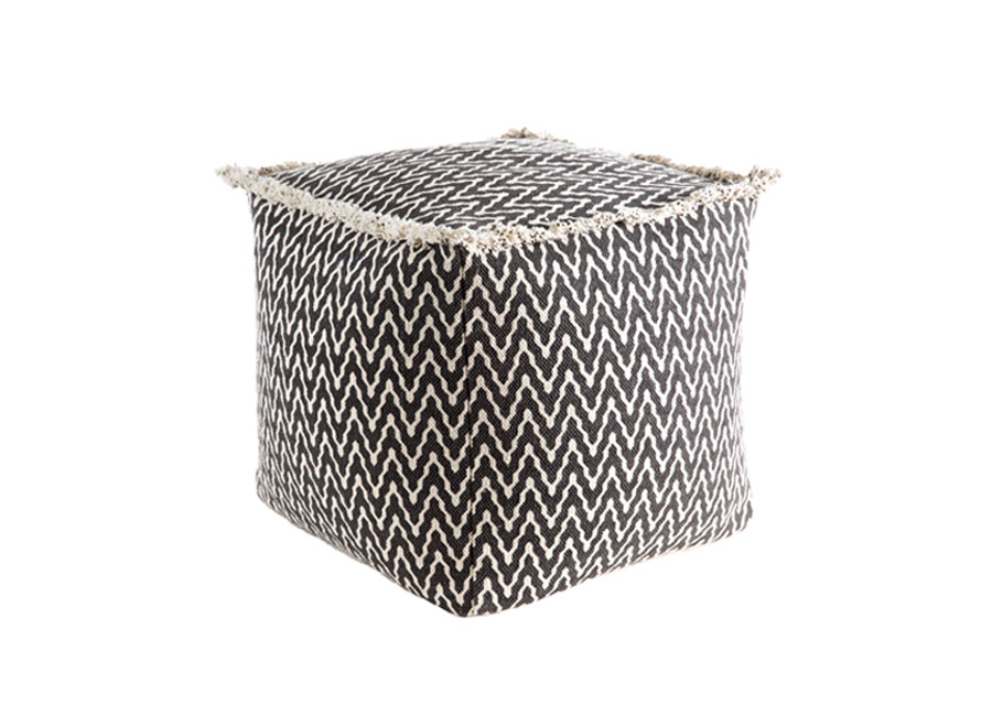 Black and White Print Cube Ottoman