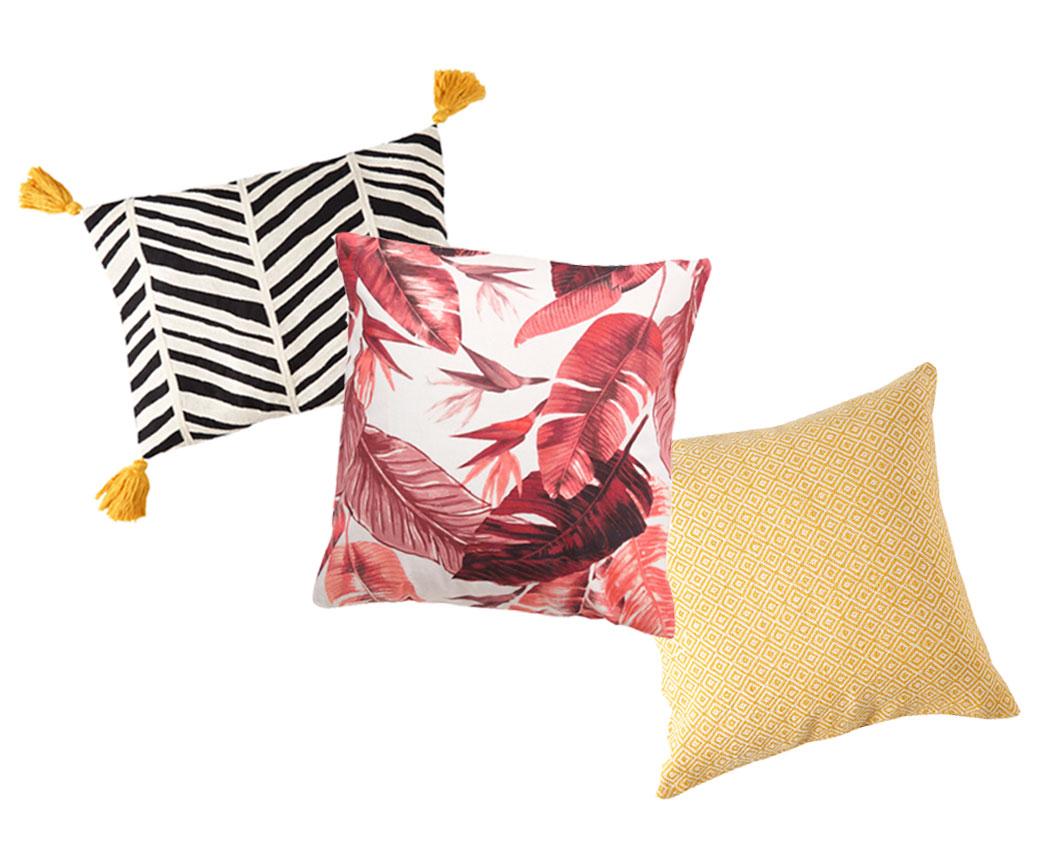 Printed Throw Pillows (black and white stripe, fuchsia tropical leaves and yellow diamond).