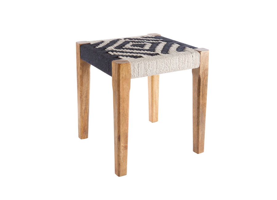 Stool with black and white woven seat and wooden legs