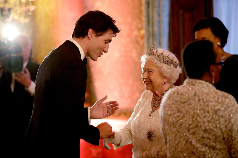 Queen Elizabeth and Justin Trudeau