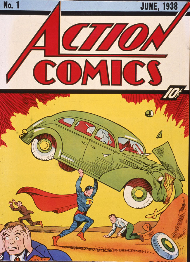 The cover for the first Superman Comic featuring Superman holding a car over his head.