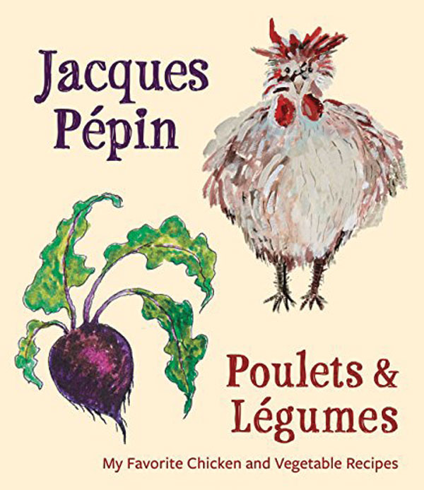 The book cover for Poulets and Legumes. A cartoon chicken and beat is displayed on the cover.