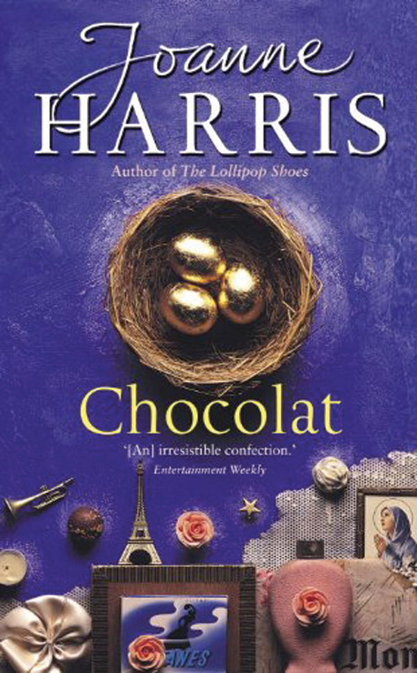The book cover for chocolat. A bird's nest with chocolate eggs wrapped in gold paper is displayed underneath the author's name on a purple background.