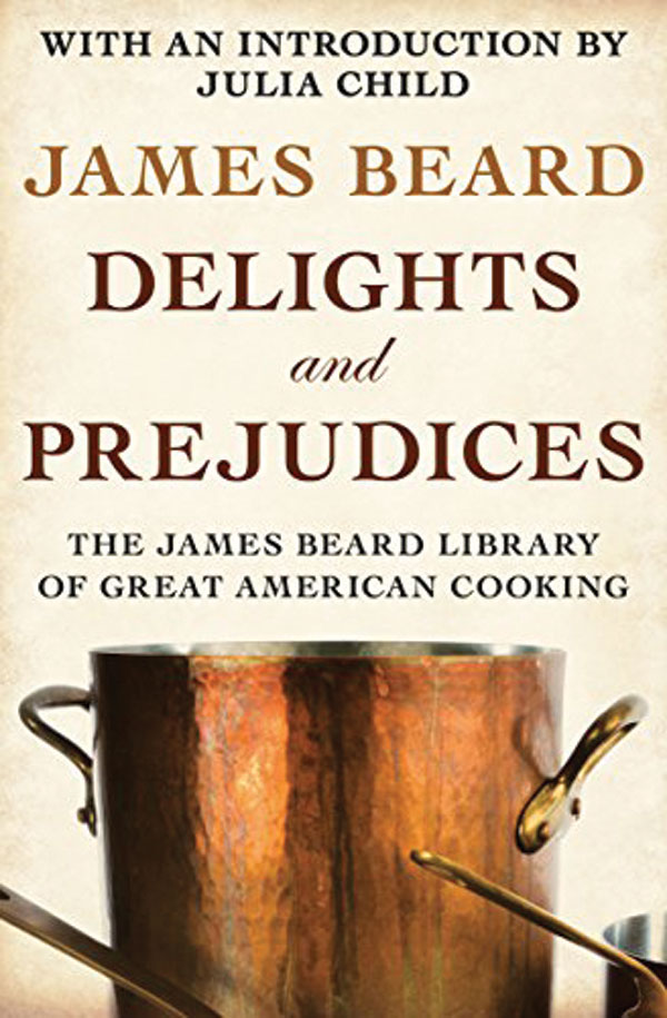 The book cover for Delights and Prejudices. A bronze coloured pot is displayed underneath the text.