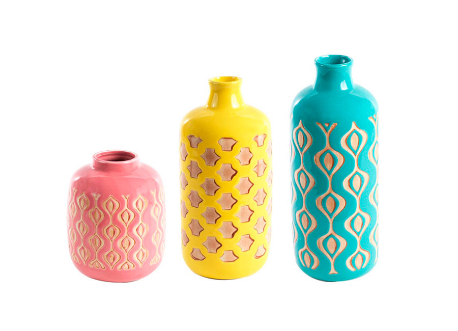 Three pastel ceramic vases (peach, yellow and teal)