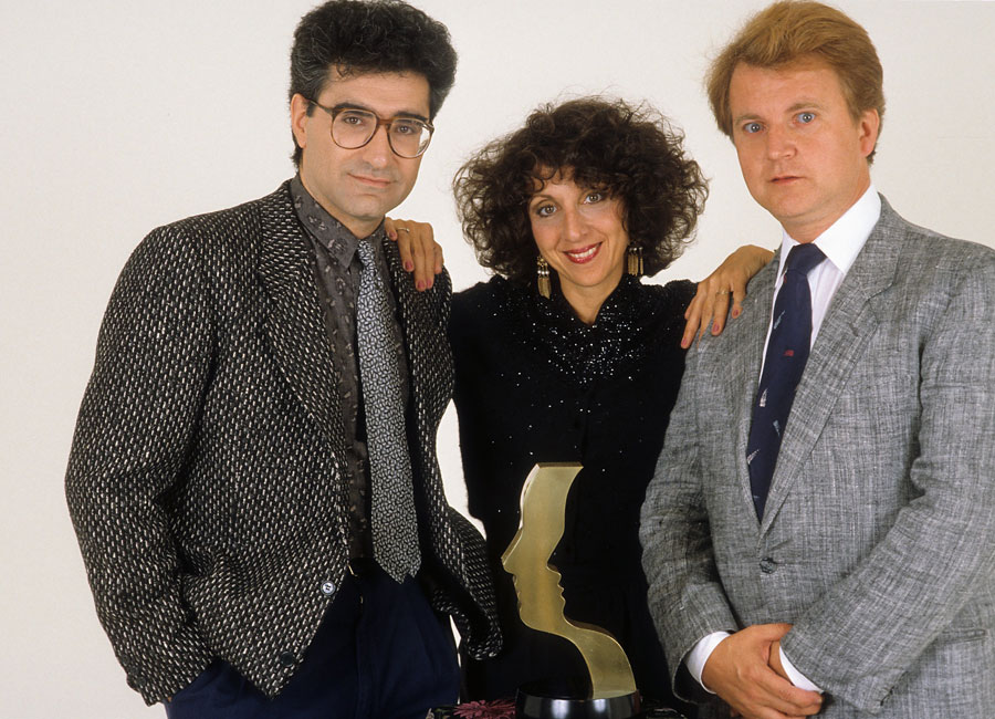 Eugene Levy, Andrea Martin, and Dave Thomas pose for a portrait in c.1980 in Los Angeles, California.