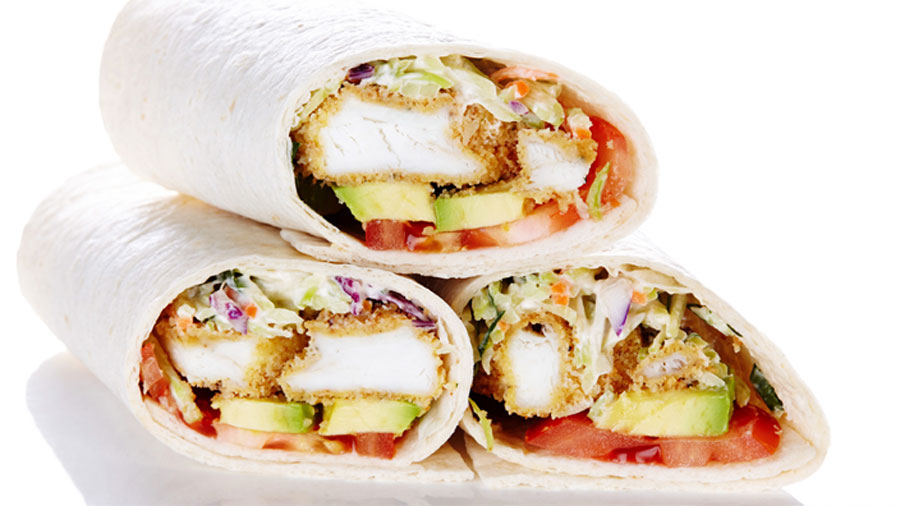 A wrap filled with breaded sole, tangy cabbage slaw, juicy tomatoes and creamy avocado.