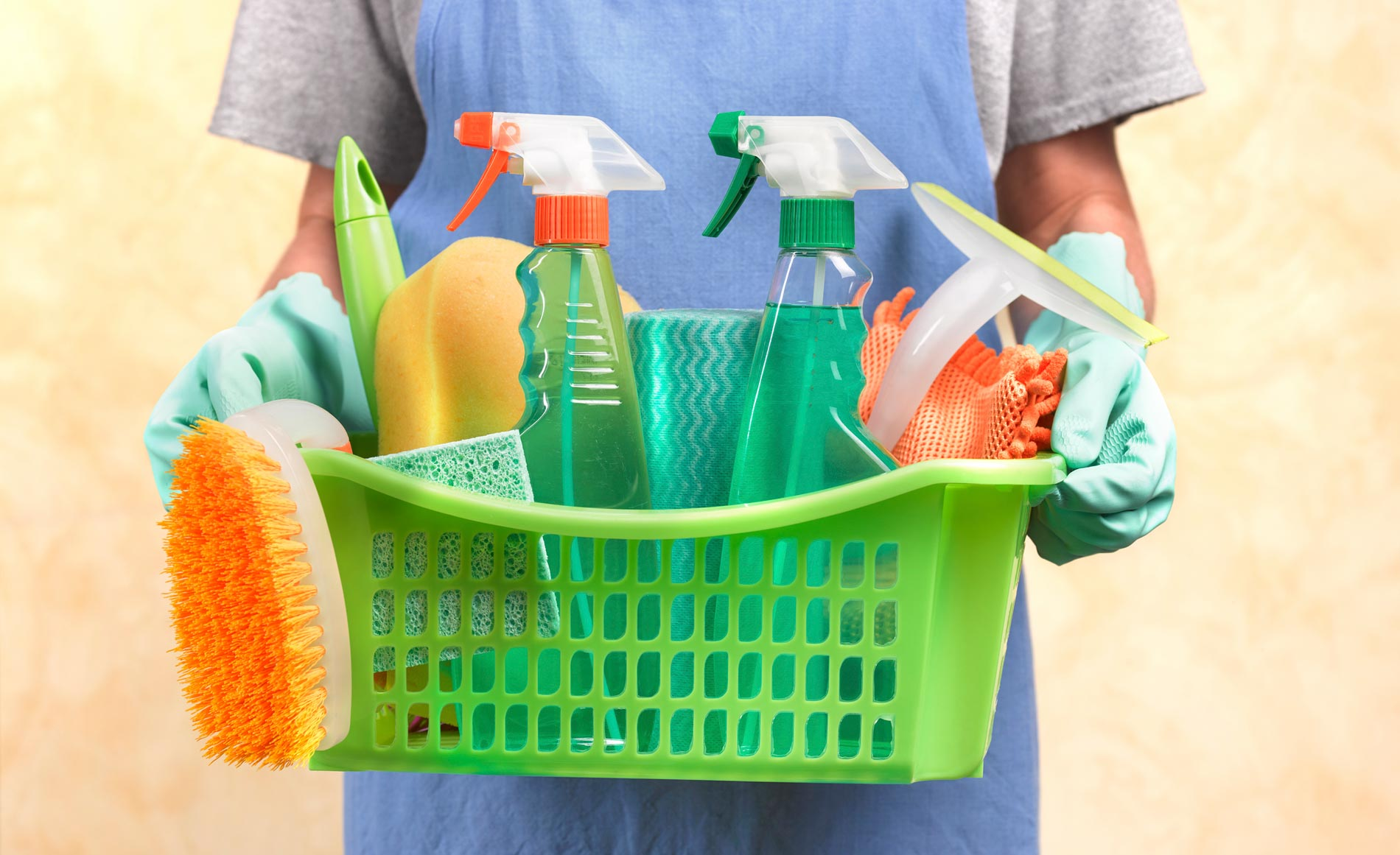 Cleaning products in a basket