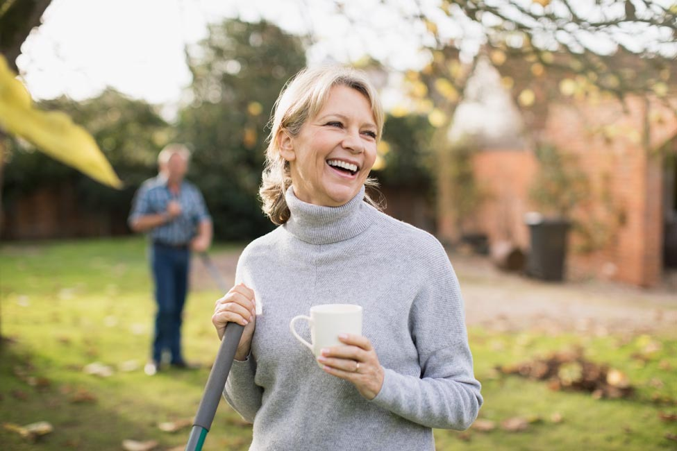 Woman smiling in garden