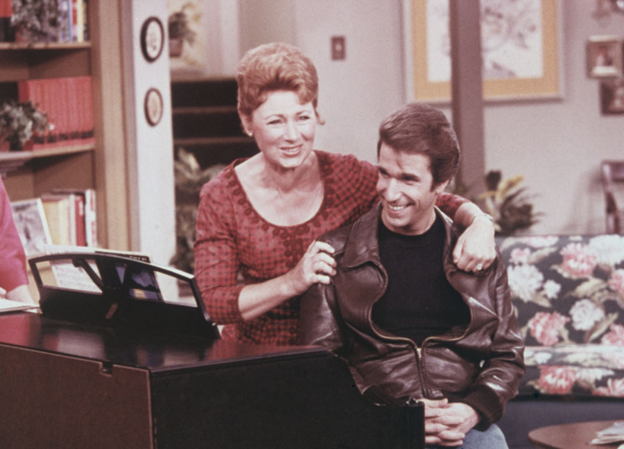 "Marion Ross on the set of ""Happy Days"""