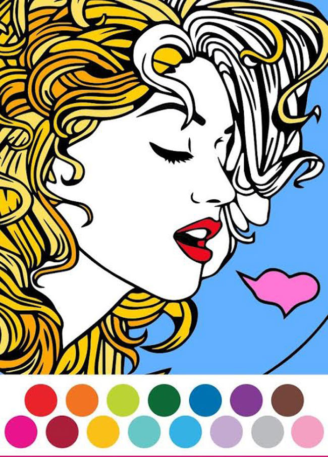 A screenshot of the colorfy app displaying an illustration of a young woman with curly hair and the colour pallet displayed at the bottom of the screen.