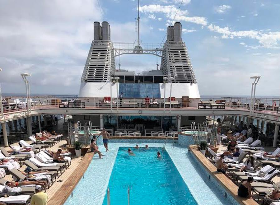 Pool deck on cruise ship