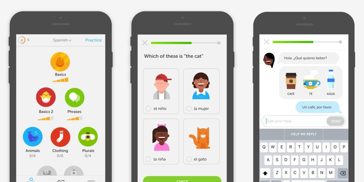The Duolingo app screenshot demonstrating how the app helps users learn a new language with the help of illustrations.