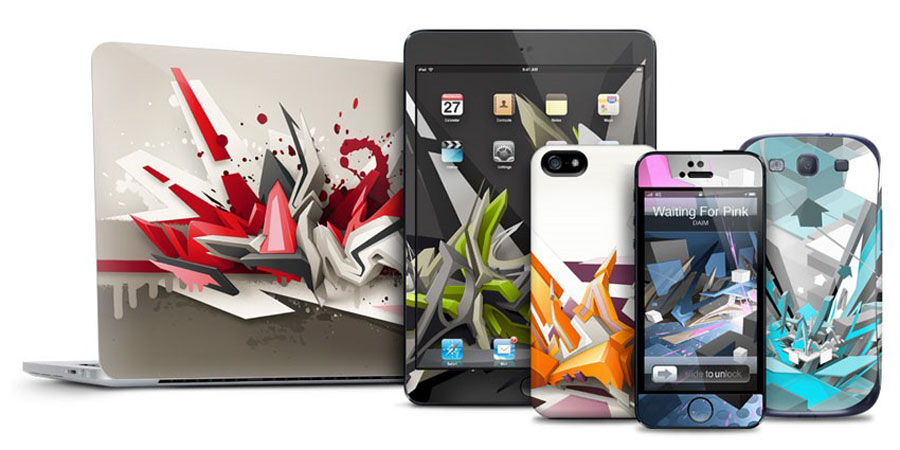 Various apple products with bright skins on them.
