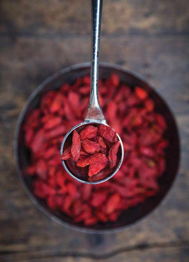 A bowl of goji berries with a spoonful hovering above the bowl.