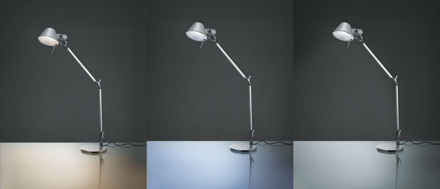 A split screen showing lighting options for the Tolomeo, which include a warm, cold and bright lighting options.