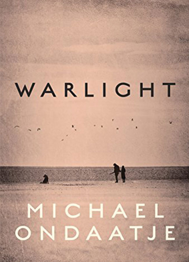 The book cover for Warlight featuring two people standing on a frozen lake with a dog and the title displayed in the sky above them.