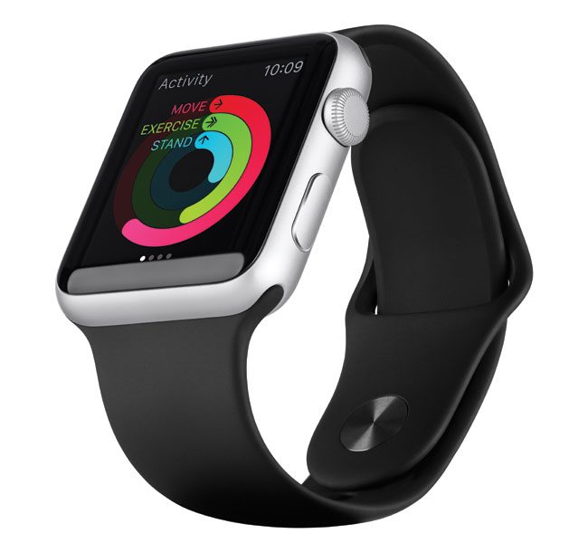 A sleek black apple watch sport.