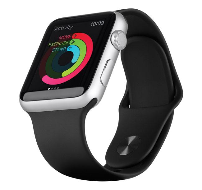 A sleek black apple watch sport.