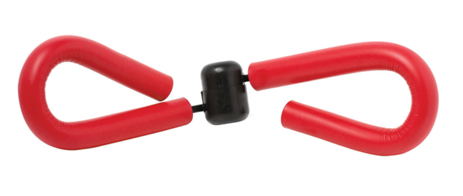A photo of a red thighmaster, a popular exercise apparatus that worked the thighs in the 90s.