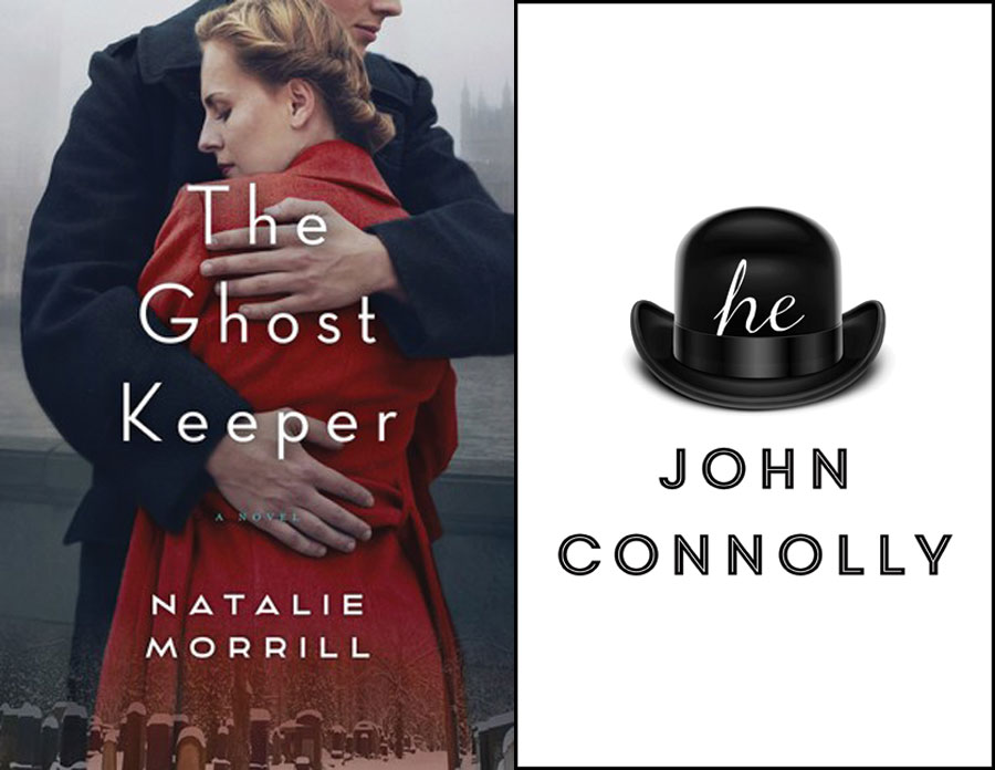 Two book covers. The cover for The Ghost Keeper featuring the back view of a woman being hugged by a man with the book title written in white in the foreground. The second book cover for he features a top hat with he written in lower case on the front of the hat.