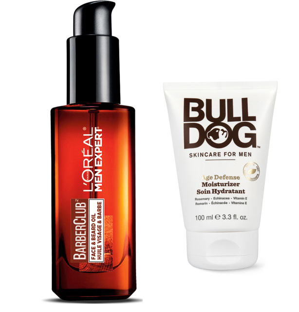 A bottle of L'Oreal's face and beard oil and a tube of Bull Dog's Age defence moisturizer.